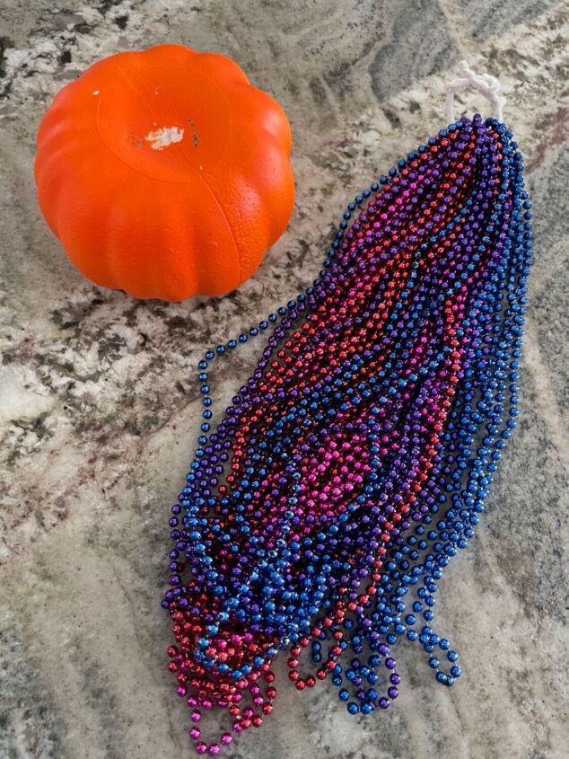 dollar tree mardi gras beads pumpkin