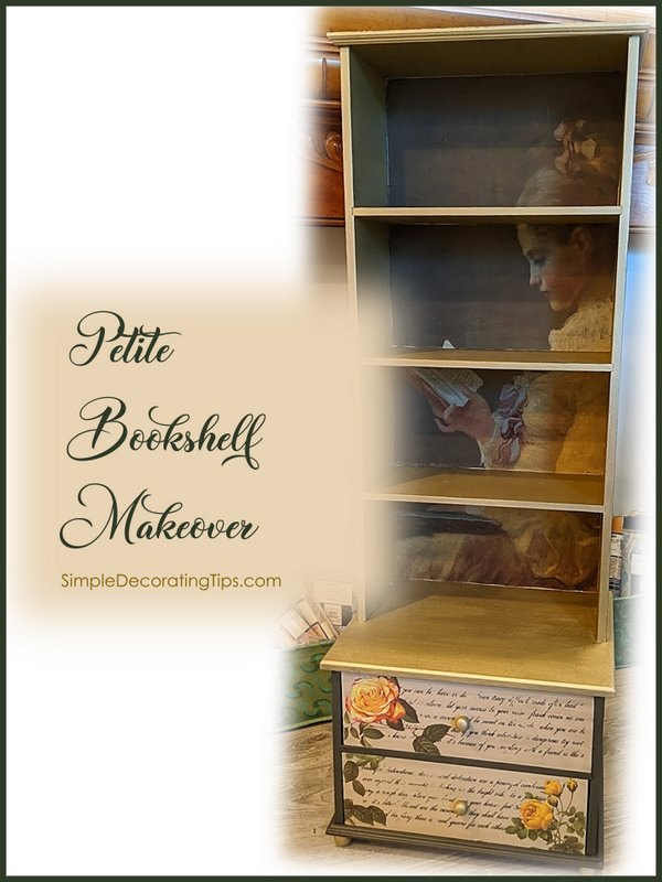 petite bookshelf makeover includes video for wrinkle free decoupage t