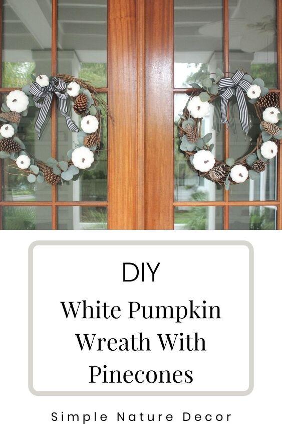 diy white pumpkin wreath with pinecones