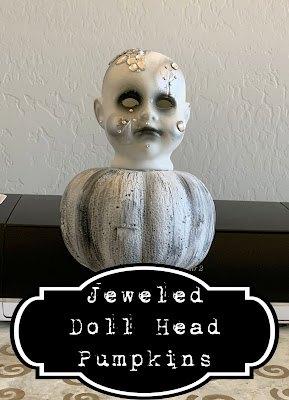 halloween jeweled doll head pumpkins