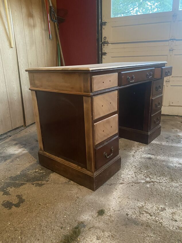 desk renovation using miniwax stain and valspar furniture paint