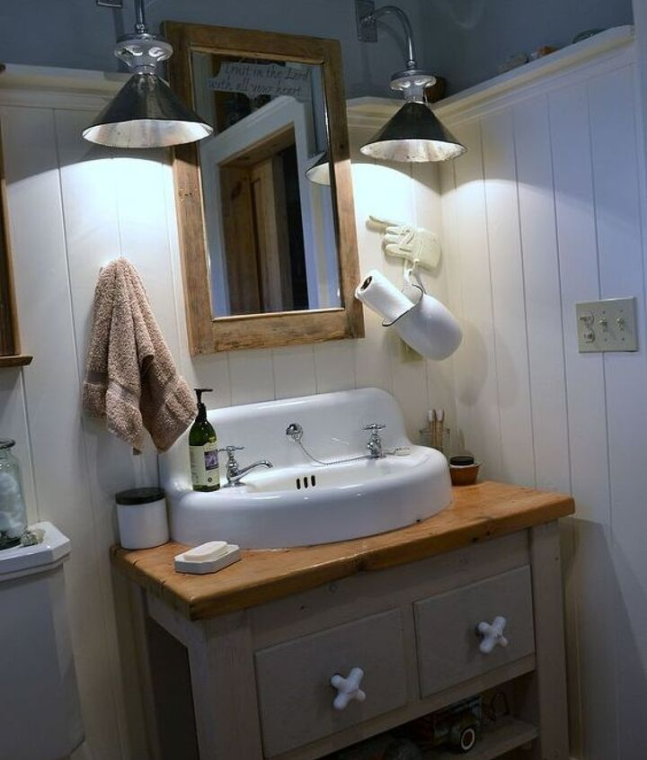 reclaimed and repurposed was the design format for this bathroom.