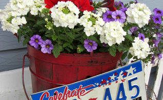 patriotic holiday junk on the potting bench, flowers, gardening, outdoor living, patriotic decor ideas, repurposing upcycling, seasonal holiday decor