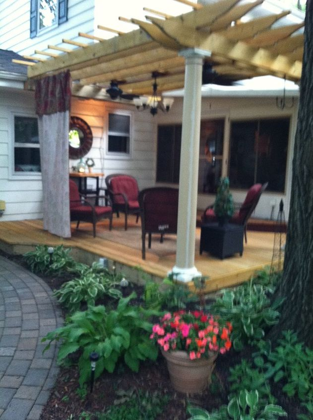 this is one of many favorite sitting spots in our backyard sanctuary that my husband, decks, gardening, outdoor living, patio