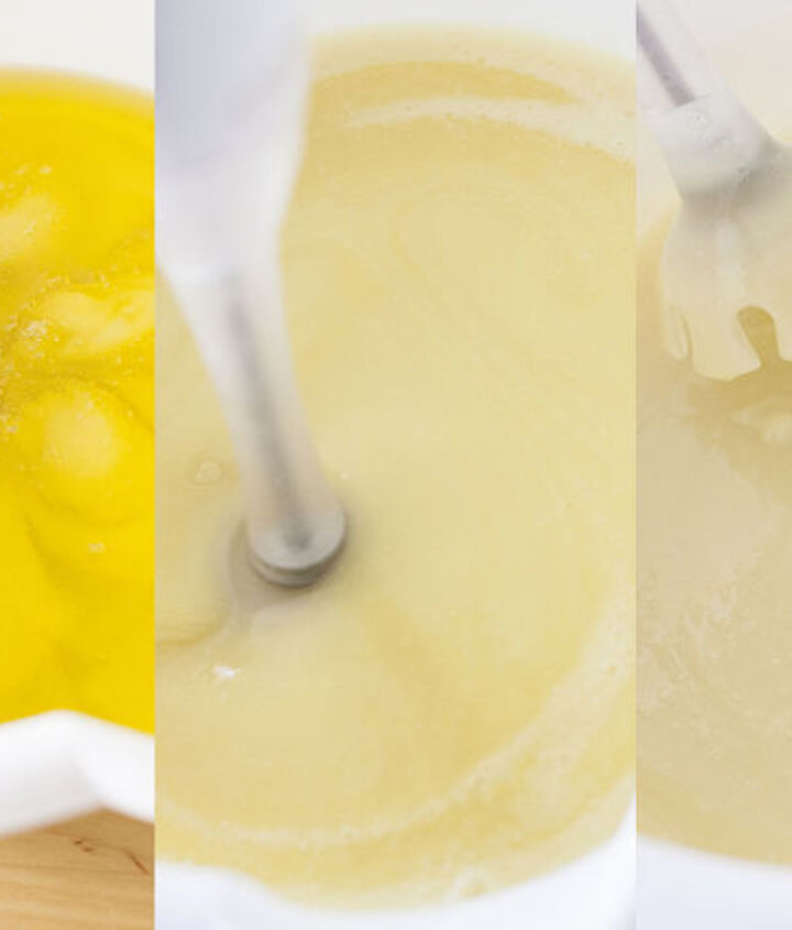 "The stages of soap mixing -- ""reaching trace""."