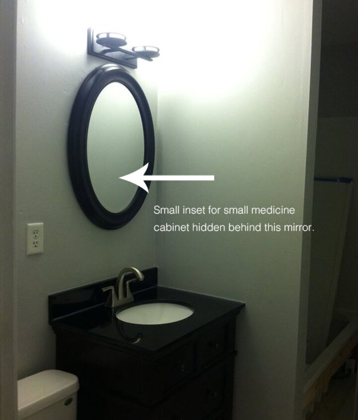 """Bathroom small 'in-progress"""" to live with before we knew what we wanted for demo."""