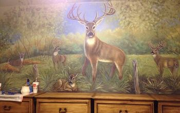 boys room hunting mural, bedroom ideas, home decor, painting, Mural I painted above the dressers