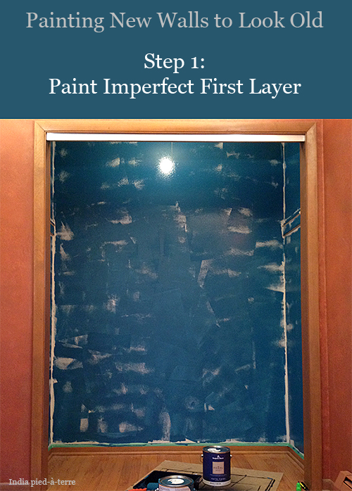 First layer of paint - paint the lightest of your 2-3 similar colors. You don't have to do a great job of painting this layer because you will be painting more layers over it.
