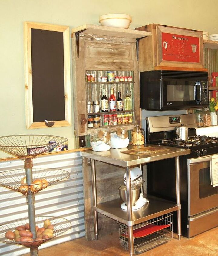 Used Kitchen Cabinets In Maryland: Old Weathered Door Spice Rack