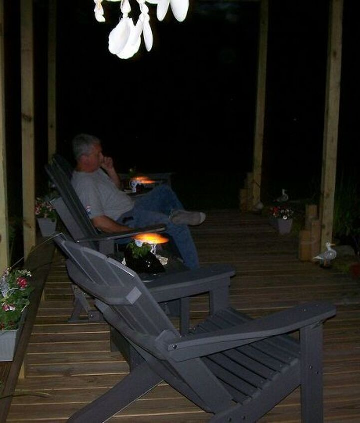 My husband evjoying the evening on the deck