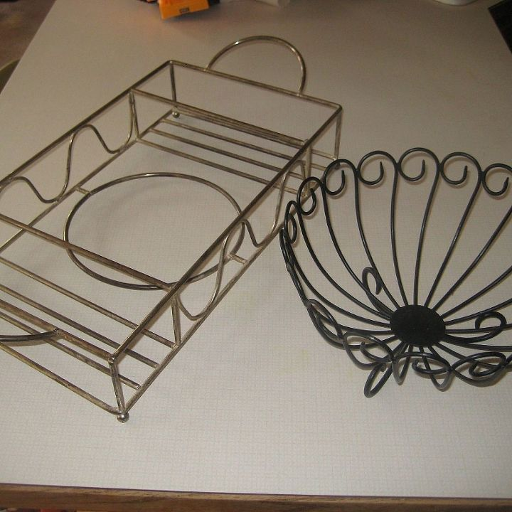 diy hanging pot pan rack, kitchen design, repurposing upcycling, storage ideas, fruit basket with serving tray both were only 2 99 each