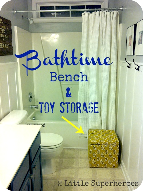 Bench for when we bath the kids, and doubles as bath toy storage.