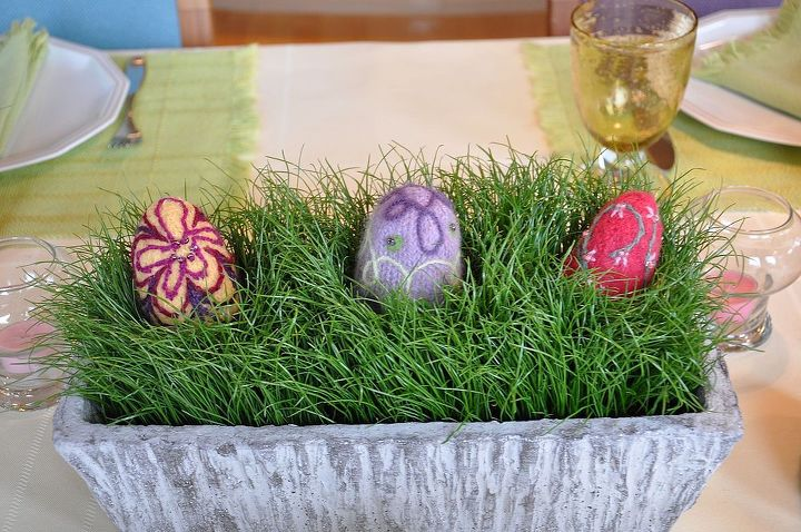 easter tablescape, easter decorations, seasonal holiday d cor, eggs in real grass grown in a planter