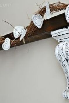 diy doily and twine banner for valentine mantel, crafts, seasonal holiday decor, valentines day ideas
