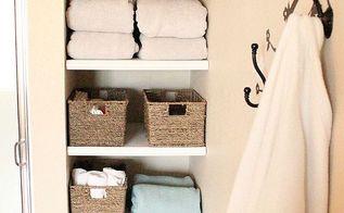 installing built in bathroom shelves, bathroom ideas, closet, diy, shelving ideas, storage ideas, woodworking projects, Pretty pretty storage