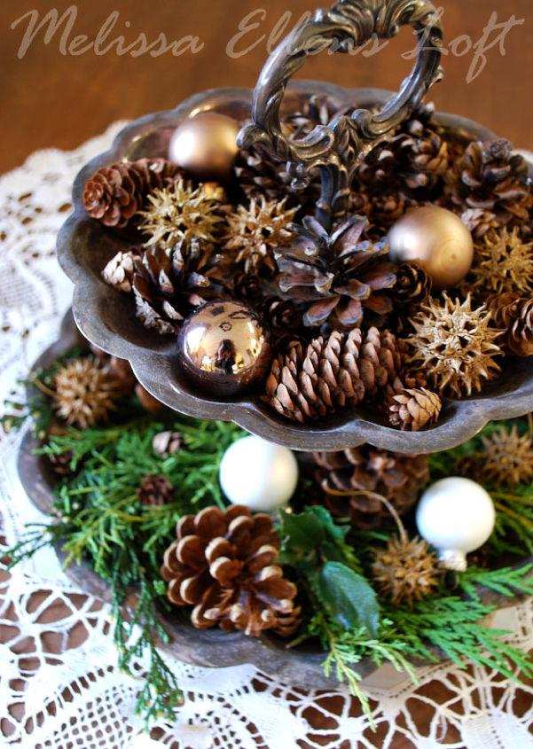 fresh greens, pine cones, ornaments