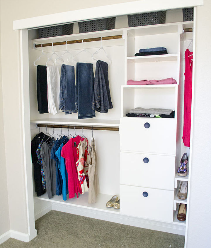 Lots of hanging storage, shelves, and drawers- DIY closet kit