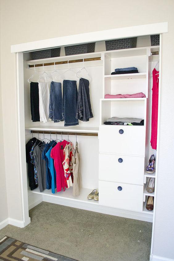 Lots of hanging storage, shelves, and drawers- DIY closet kit