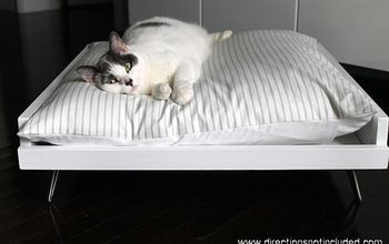 diy midcentury pet bed, diy, painted furniture, pets animals, It is easy to make your pet happy with a few 1x4s a 1x2 some scrap plywood and hair pin legs