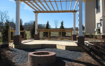 Outdoor Pergola with sitting area and fire pit