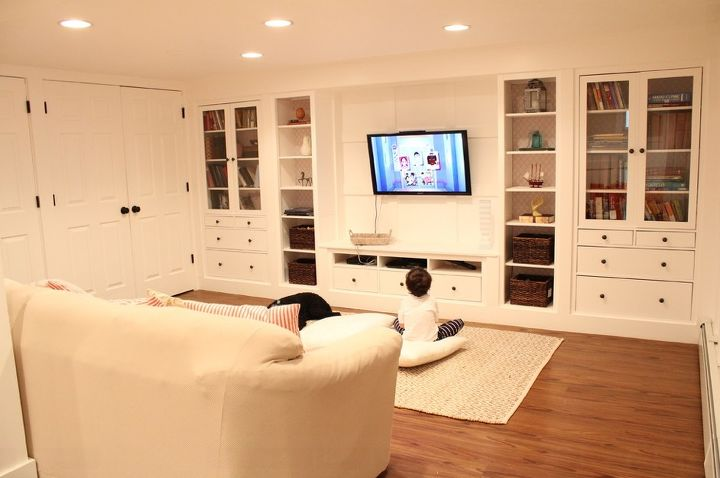 Wall of built Ins out of IKEA Hemnes cabinets | Hometalk