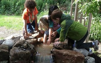 Pond installation and waterfall for kids in Chicago suburbs