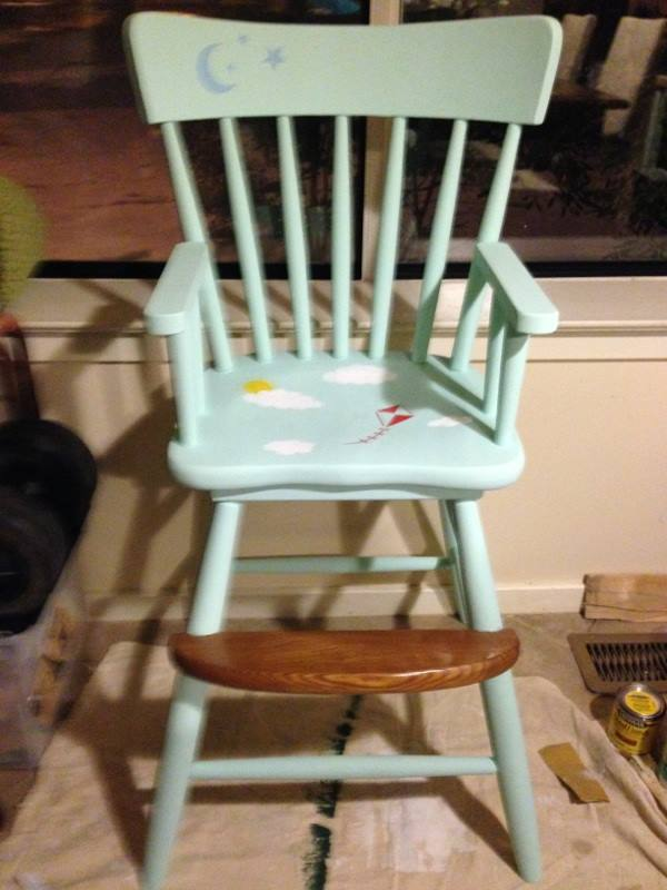 high chair make over, painted furniture