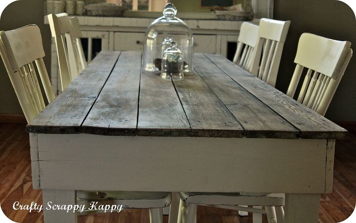 my up cycled farmhouse dining room table, dining room ideas, home decor, painted furniture
