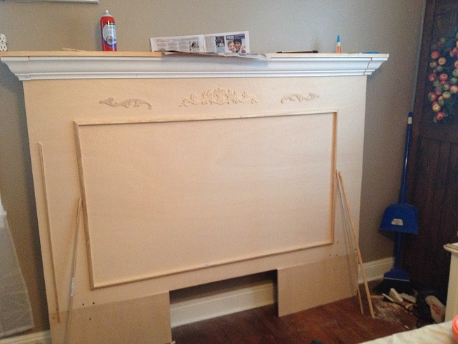 DIY Fireplace Mantel Headboard
