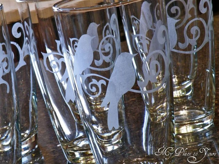 This set of glasses was a gift for a daughter who loves birds.