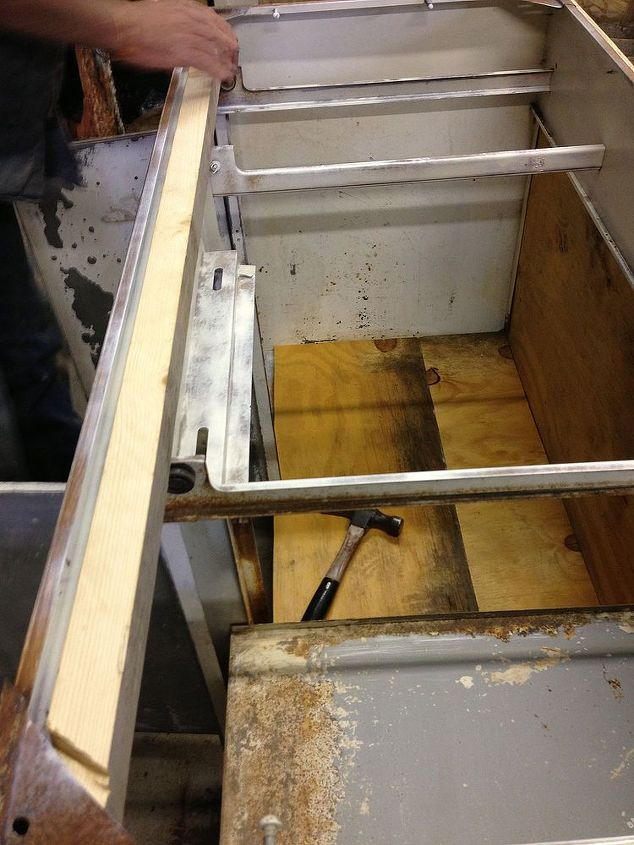We used plywood that we already had to repair the back and bottom.