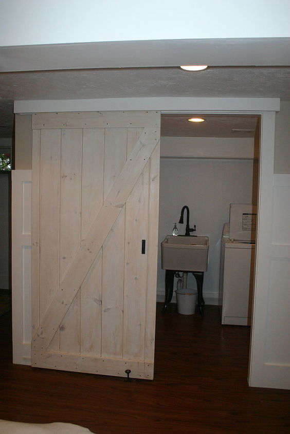 barn door using a closet track, diy, doors, woodworking projects