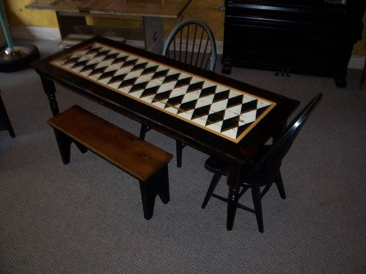 repurposing hard wood flooring and stairposts, painted furniture, woodworking projects, handpainted table