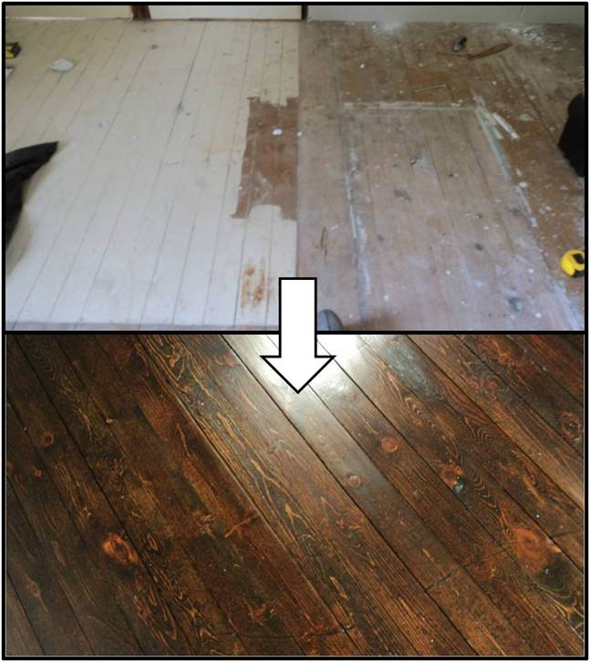 doing the refinishing pine floors dance, flooring, home maintenance repairs, how to, The great before after