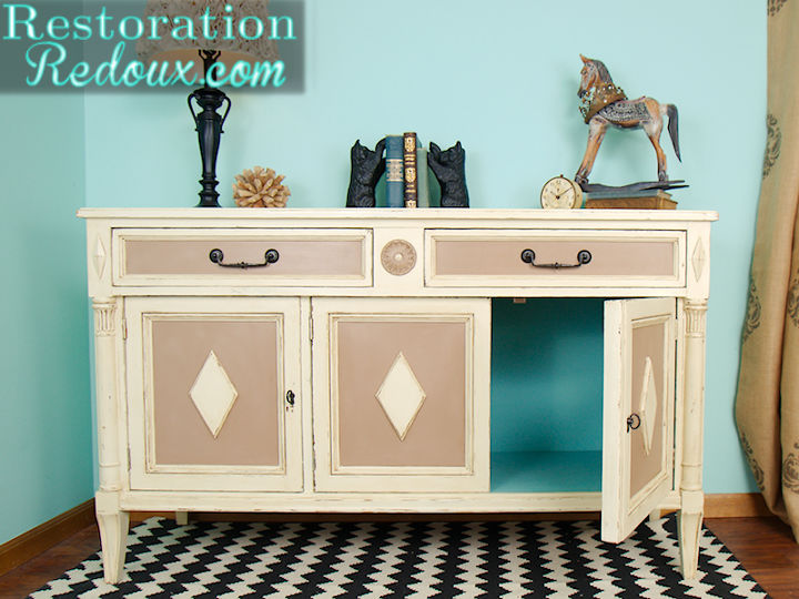 thrift store buffet turned painted tv console painted furniture cabinet pops of blue - Painted Tv Consoles