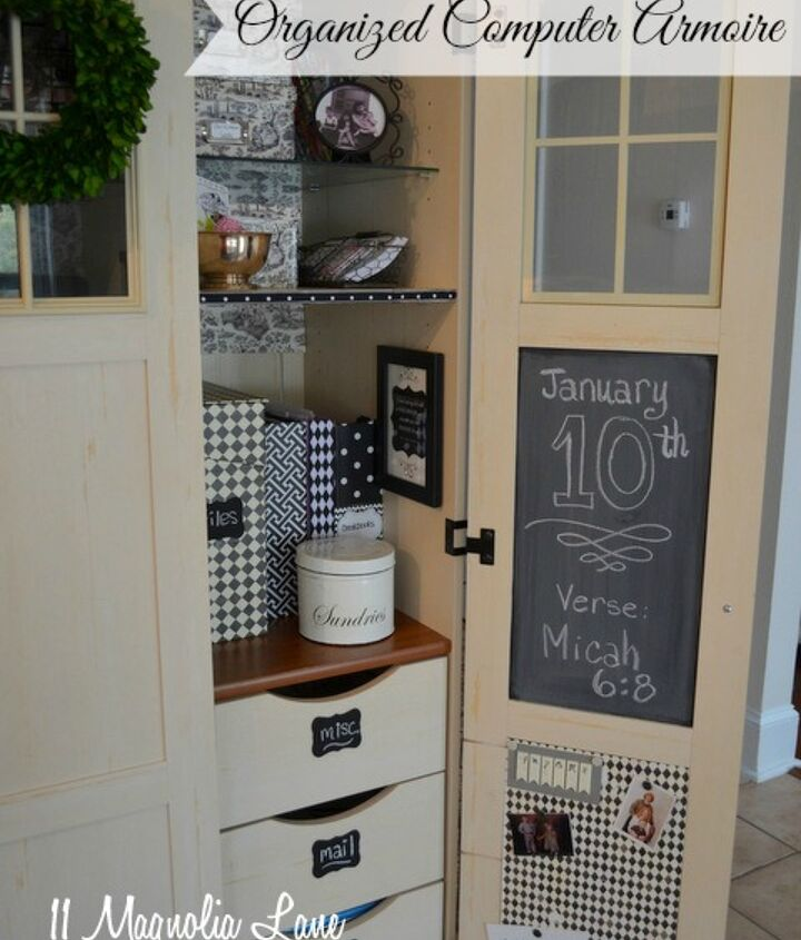 Chalkboard paint and corkboard panels (covered with scrapbook paper) make the door a great memo board.