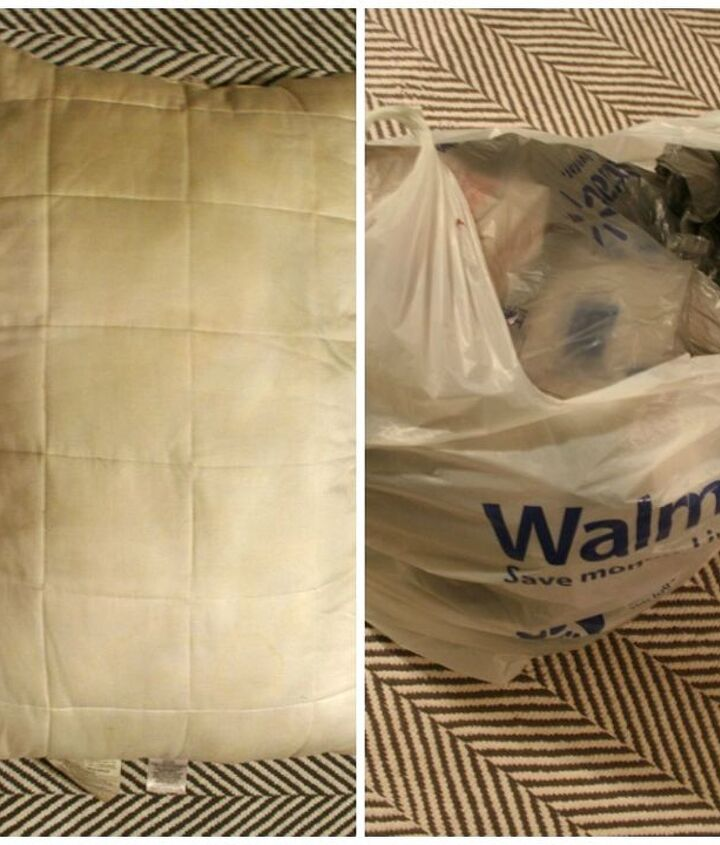 Here is what I used to fill the pillows - plastic bags and an old sleeping pillow.
