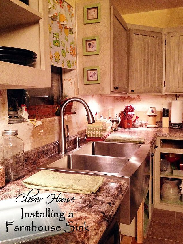 Our new apron front stainless steel farmhouse sink.