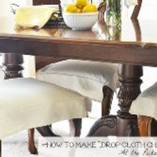 how to make drop cloth chair skirts, painted furniture, reupholster