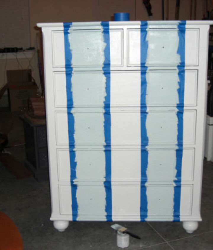 Paint the stripes with left over semi-gloss bedroom paint.