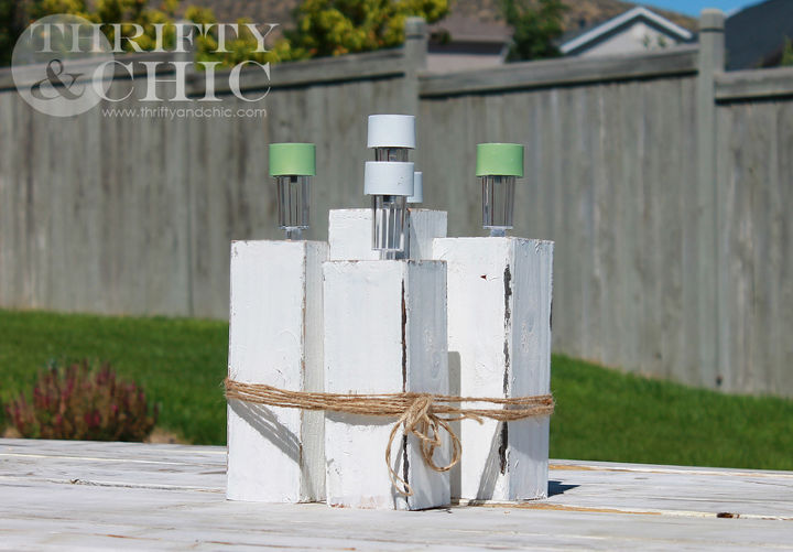turn solar lights into an outdoor table centerpiece, outdoor living, repurposing upcycling