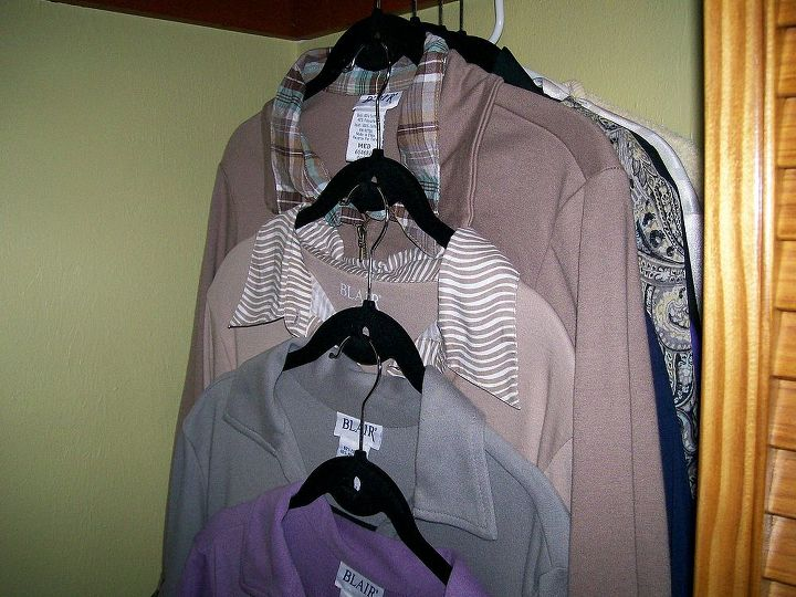 Stackable hangers keep 3-4 items in the space of one