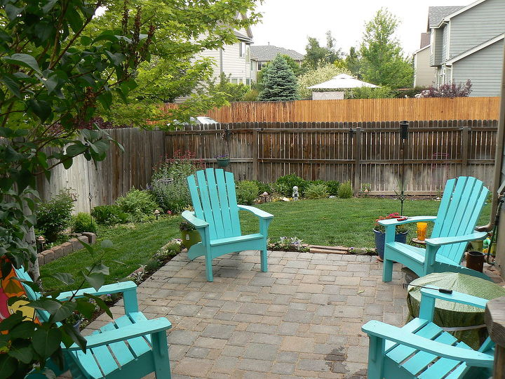 my favorite seating area, decks, outdoor furniture, outdoor living, painted furniture, patio, Tumbled paver patio and Adirondack seating