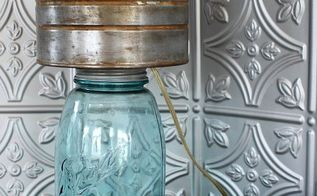 mason jar lamp with faux zinc shade, crafts, kitchen design, lighting, mason jars, repurposing upcycling, This mason jar lamp with a faux zinc lampshade is perfect for a farmhouse or rustic kitchen