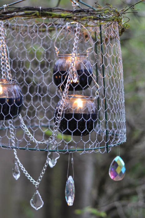 rustic upcycled outdoor chandelier, gardening, outdoor living, repurposing upcycling