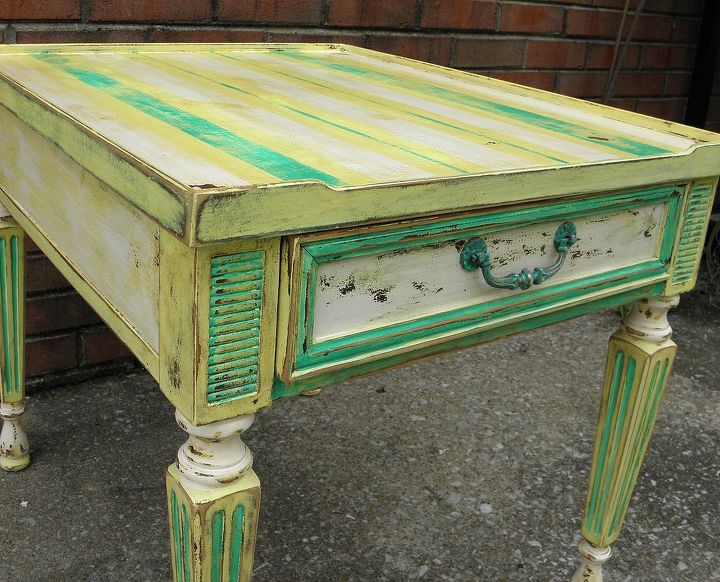 beach cottage end table, painted furniture