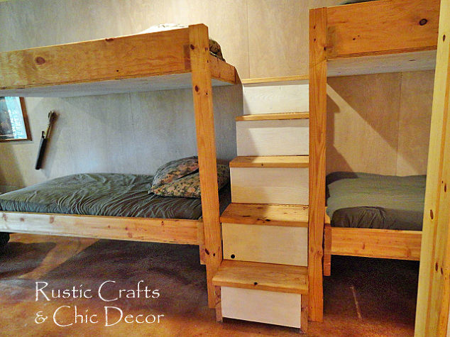 Diy double bunk bed design hometalk for Diy rustic bunk beds