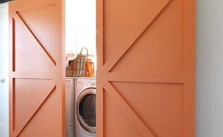 modern laundry space design, closet, doors, home decor, laundry rooms