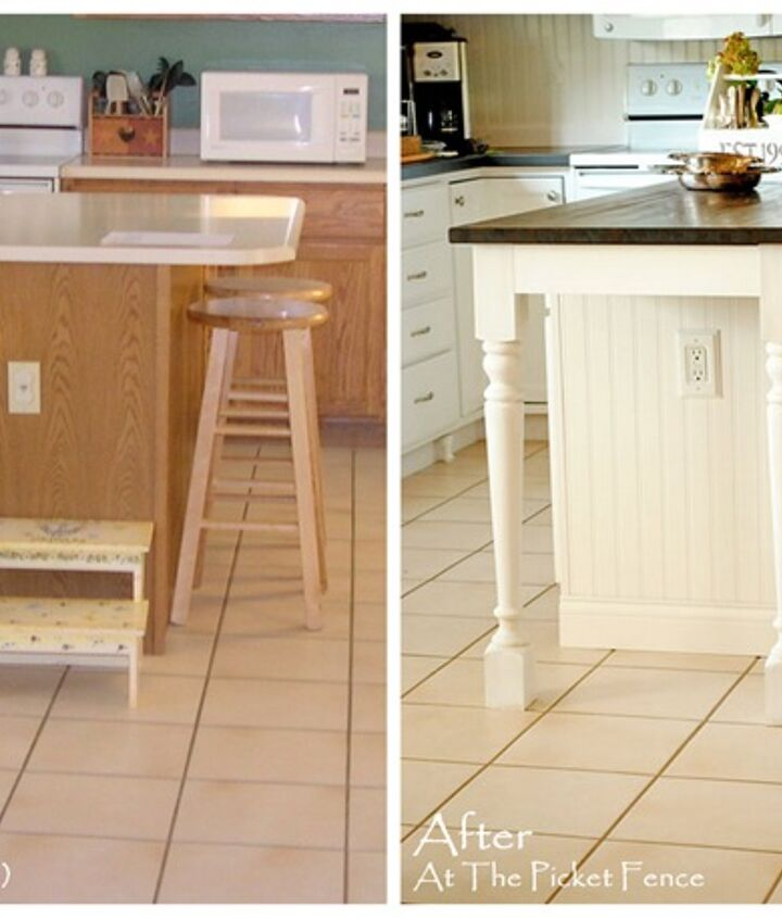 {Before and After} Lengthening the island added much needed space in front of the refrigerator and allowed for additional seating.