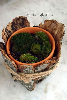 planter with moss amp bark, crafts, gardening